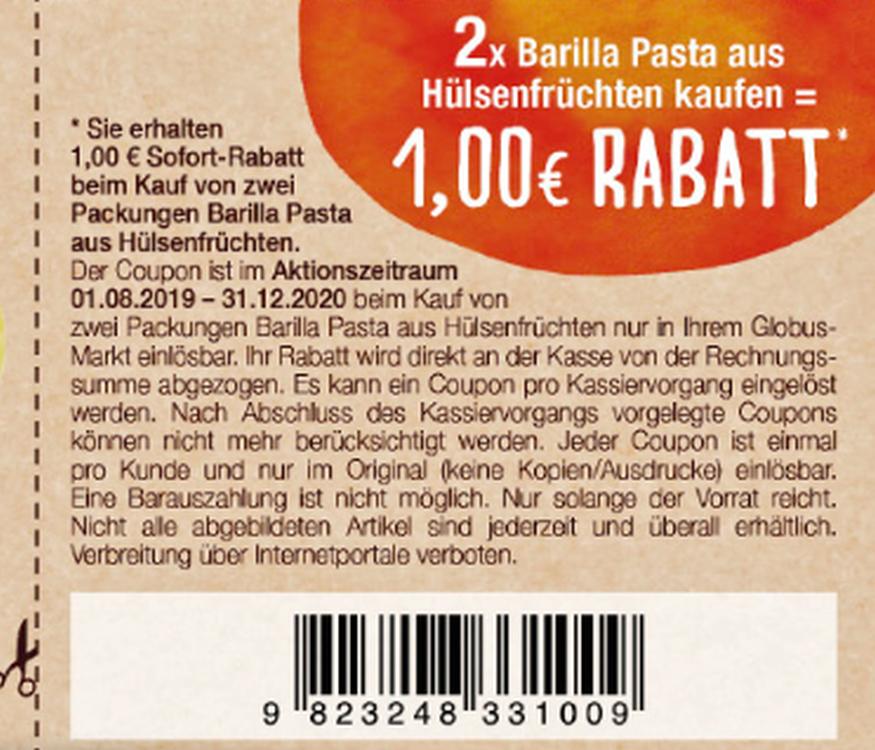 [Globus] 1,00€ Coupon für den Kauf von 2x Barilla Pasta aus Hülsenfrüchten 250g bis 31.12.2020