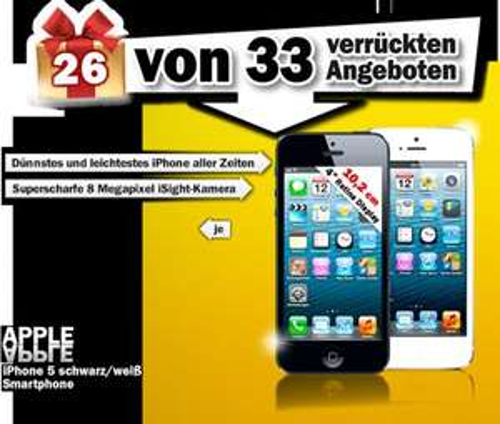 [MediaMarktOnline] iPhone5 16GB schwarz oder weiß im Adventskalender