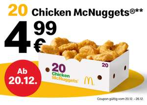 McDonalds 20 Chicken McNuggets via App Coupon für 4,99€