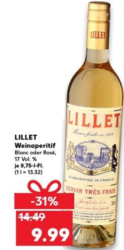 [Kaufland] Lillet Blanc oder Rosé 0,75 l für 9,99€