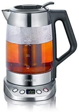 SEVERIN Glas-Tee-/Wasserkocher Deluxe, Mit Temperaturregler (Für 1,7 L Wasser/1,5 L Tee, ca. 3.000 W, WK 3479) edelstahl/schwarz [Amazon]