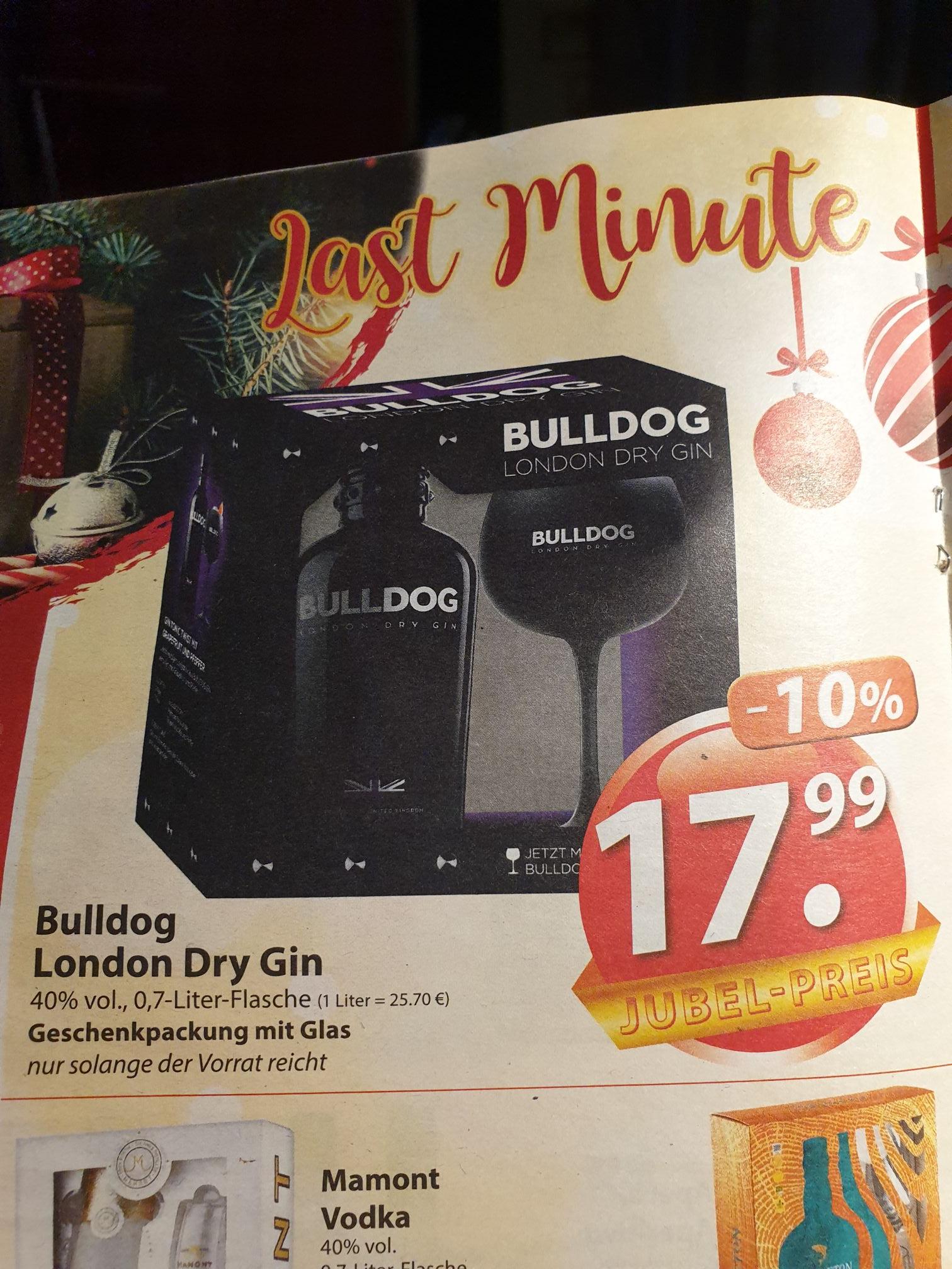 (Famila) Bulldog London Dry Gin 40% Geschenkpackung mit Glas