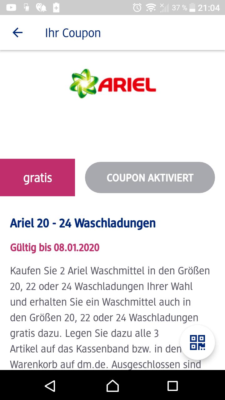 Ab heute DM App 3 für 2 Ariel Coupon (Pods oder Pulver/Flüssig bis je 24 Wl)