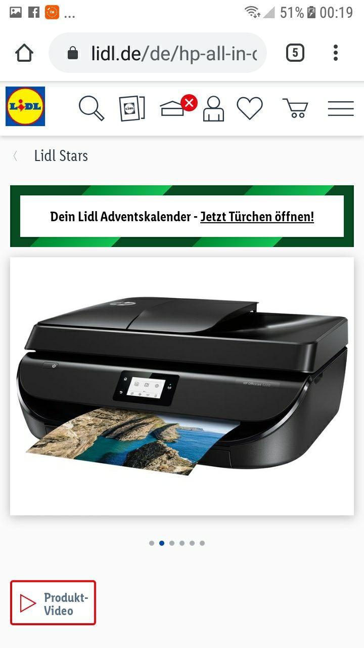 LIDL-Onlineshop: hp All-in-One Drucker OfficeJet 5220, mit WLAN und hp Instant Ink!
