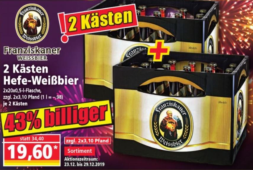 [Norma] 2 Kästen Franziskaner Hefe-Weißbier für 19,60 Euro