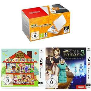 Nintendo New 2DS XL weiß-orange + Animal Crossing: Happy Home Designer & New Style Boutique 3 - Styling Star