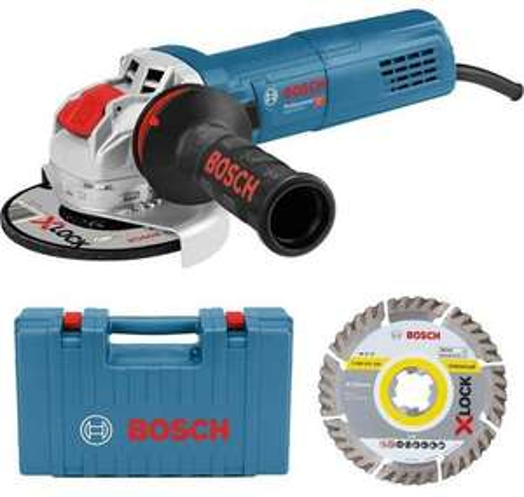 Bosch Professional Winkelschleifer 900W GWX 9-125 S (Montage ohne Werkzeug dank X-Lock, inkl. Diamant-Trennscheibe & Koffer)