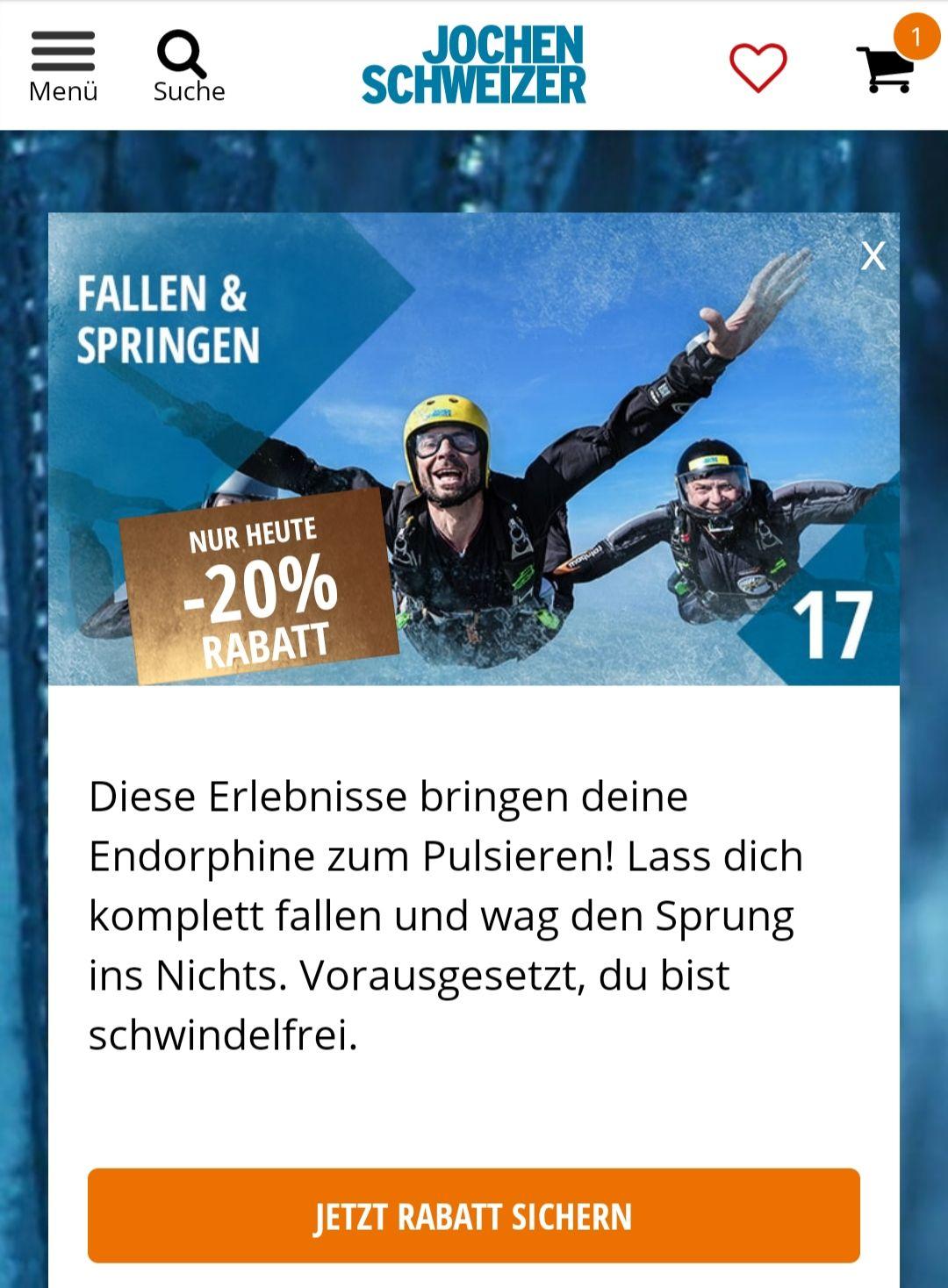 20% Rabatt auf Fallen & Springen bei Jochen Schweizer + PayPal Rabatt