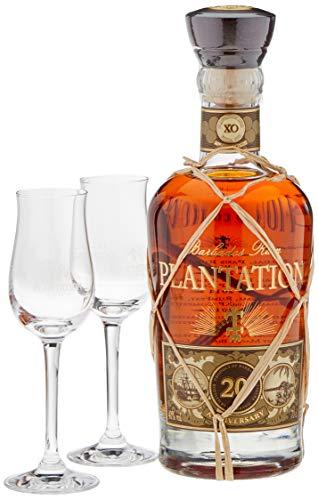 Plantation Barbados XO Extra Old 20th Anniversary mit Geschenkverpackung mit 2 Gläsern
