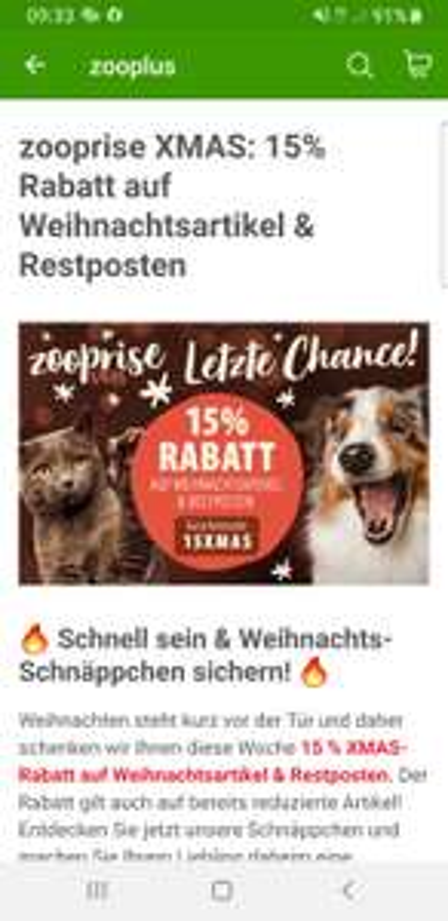15 % XMAS-Rabatt auf Weihnachtsartikel & Restposten bei zooplus.de