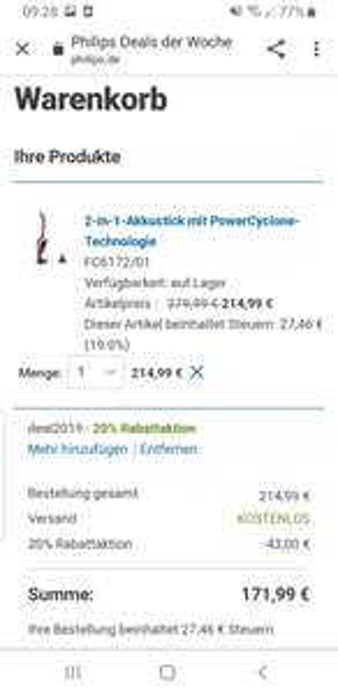 2 in 1 Akkustick Staubsauger FC6172/01