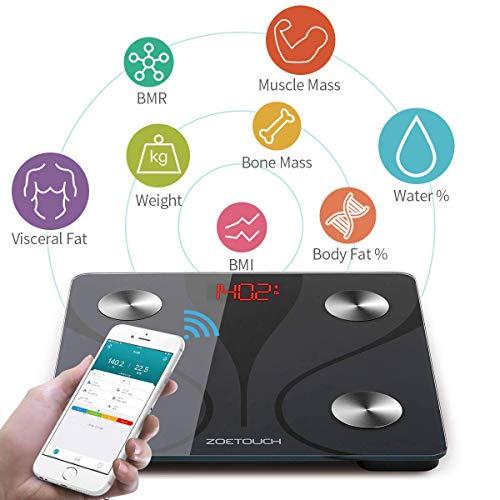 Körperfettwaage Bluetooth Personenwaage 1byone ZOETOUCH Wireless Körperanalysewaagen