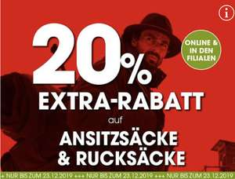 20% Extrarabatt auf Rucksäcke!!!