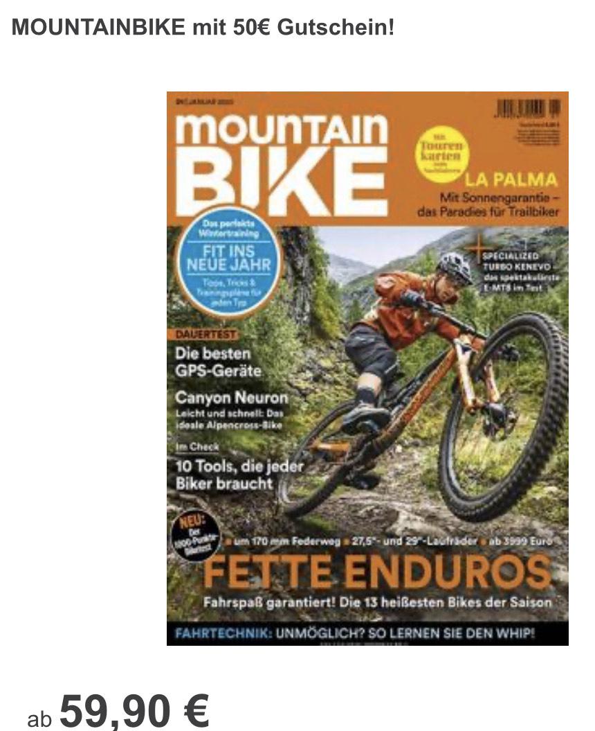 Zeitschriften Jahresabo Outdoor Mountainbike klettern mit 40/50 Euro Amazon Gutschein