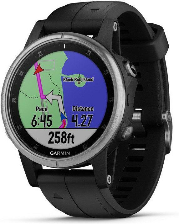 Garmin Fenix 5S Plus GPS Multisport-Smartwatch (wasserdicht, Europakarte, Musikplayer, kontaktloses Bezahlen) schwarz
