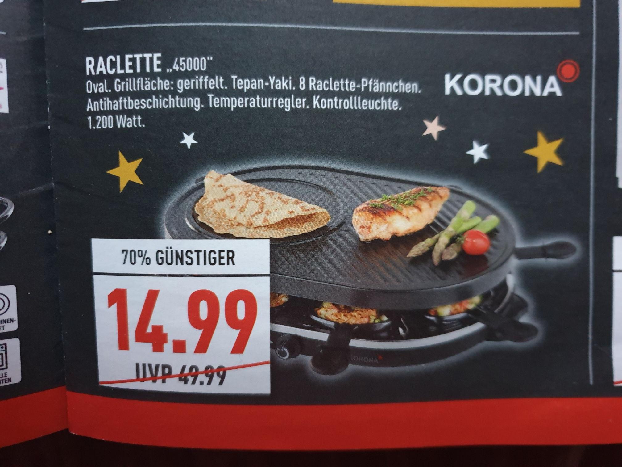 (Marktkauf Rhein-Ruhr) Raclette für 8 Personen Korona 45000 mit Crepemaker