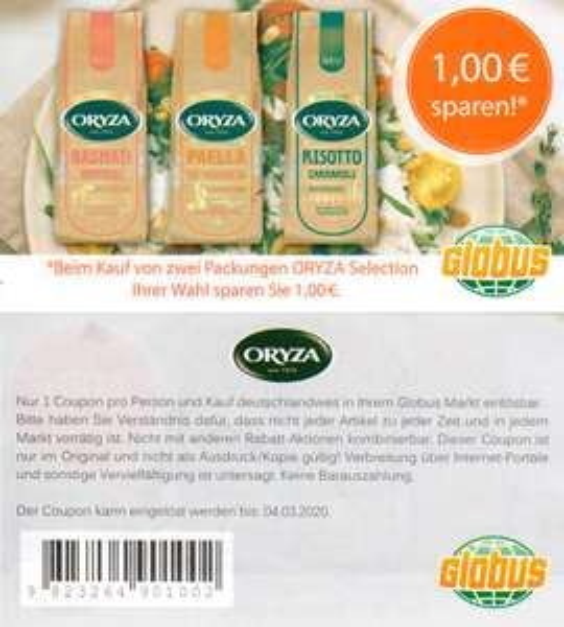 [GLOBUS] 1€ Coupon für 2x Oryza Selection bis 04.03.2020