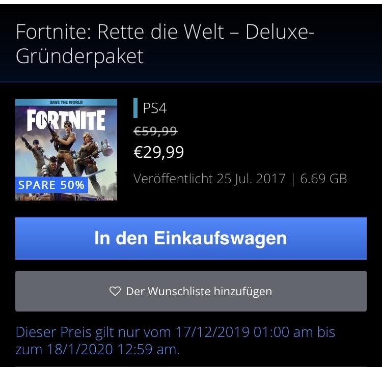 Fortnite: Rette die Welt - Deluxe Gründerpaket (PSN Store)