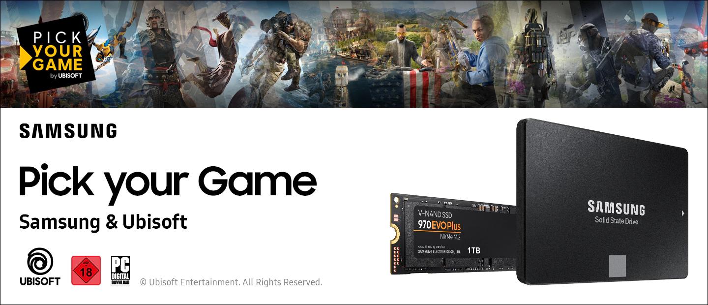 Beim Kauf einer SAMSUNG 860 EVO Basic, 1 TB SSD oder SAMSUNG 970 EVO Plus NVMe M.2, 1 TB SSD kriegt man 1 von 6 ausgewählten Ubisoft Spielen