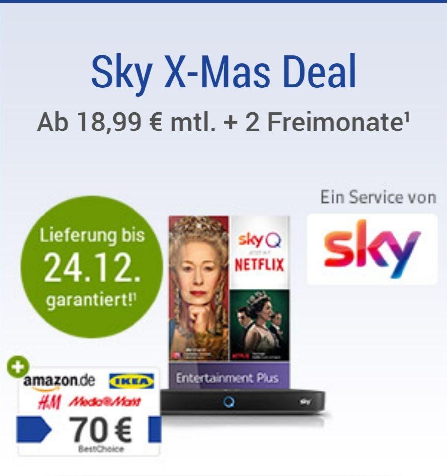 Exklusiv für GMX Kunden; Sky Entertainment und Netflix im Abo für 189,90€ + 70€ Einkaufsgutschein