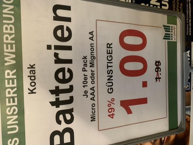 Marktkauf/Gelsenkirchen Kodak Batterien AA/AAA 10 pack für 1€