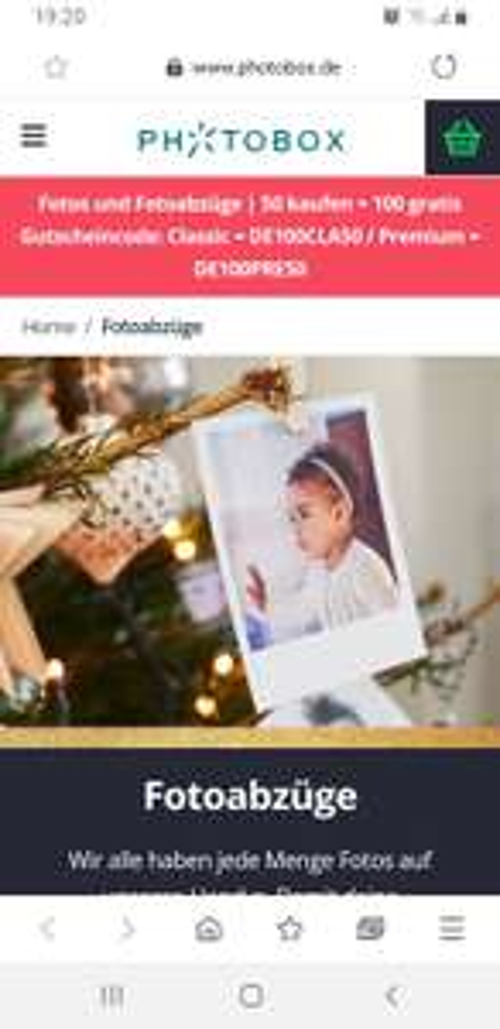 Photobox - 100 gratis Fotoabzüge Eco wenn Sie 50 kaufen, zzgl. Versandkosten