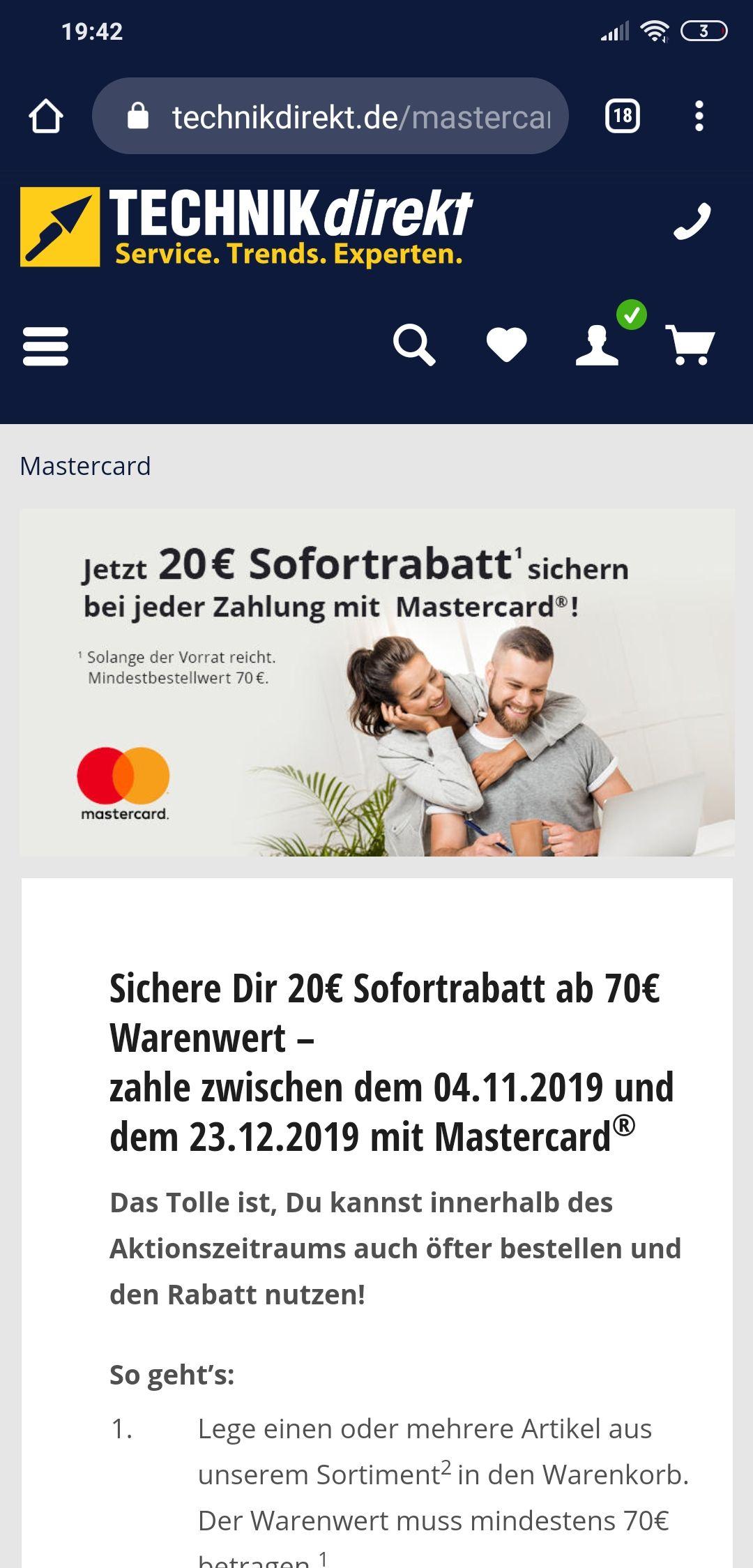 20 Euro Rabatt bei Zahlung mit Mastercard