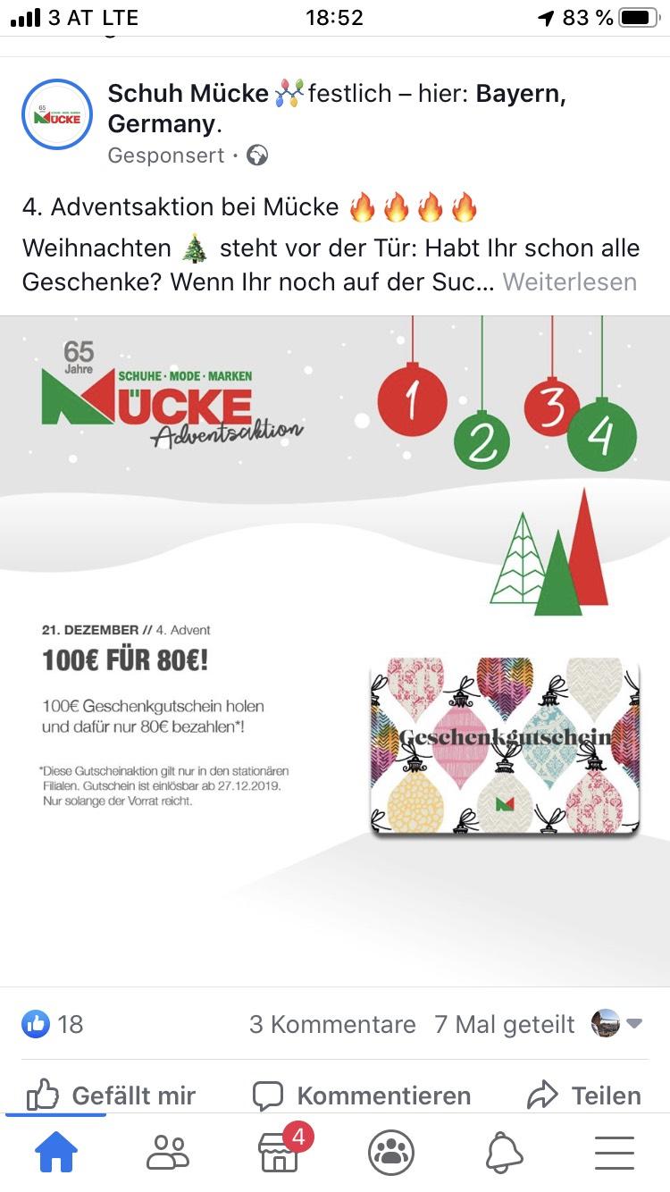 Schuh Mücke 100 Euro Gutschein für 80 Euro