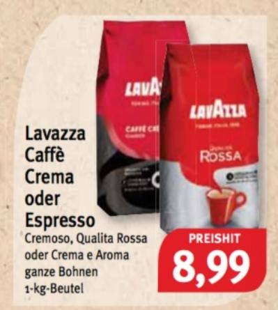 LOKAL im Allgäu und Umgebung bei Feneberg - alle Sorten Lavazza Cafè Crema oder Espresso Bohnen (1 kg)