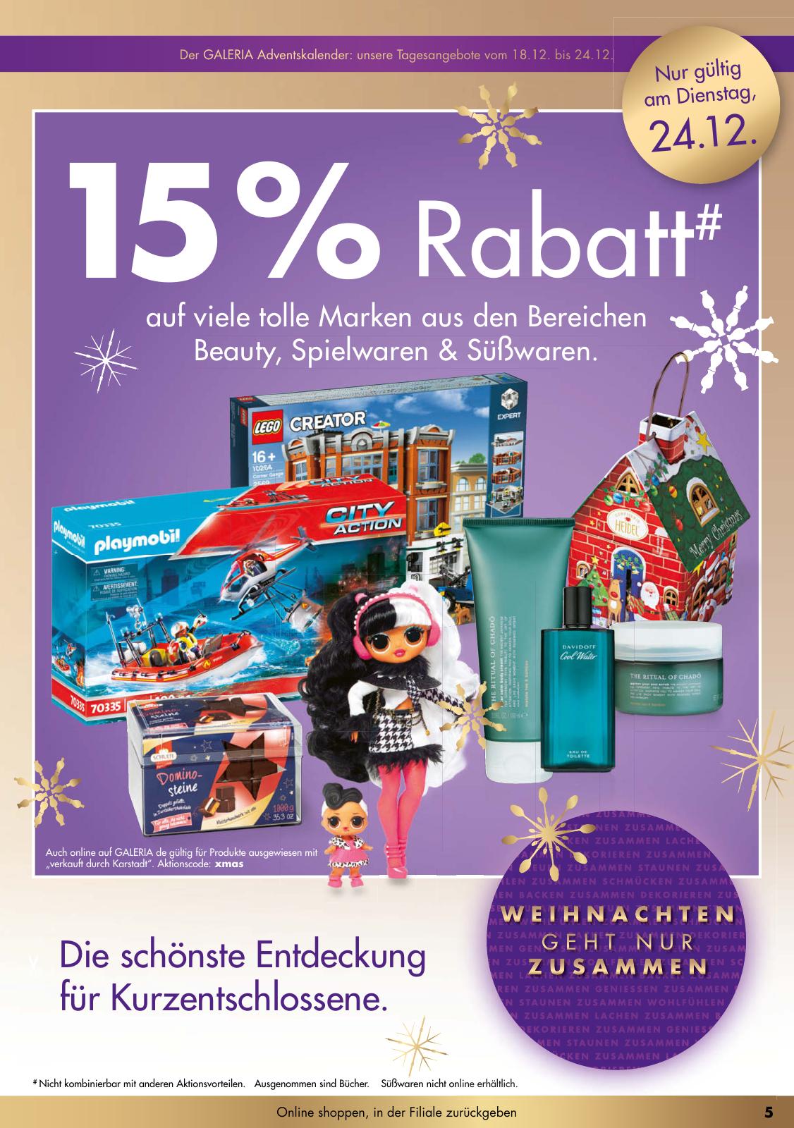 15% Rabatt auf Lego und Spielwaren, Galeria, nur am 24.12.19