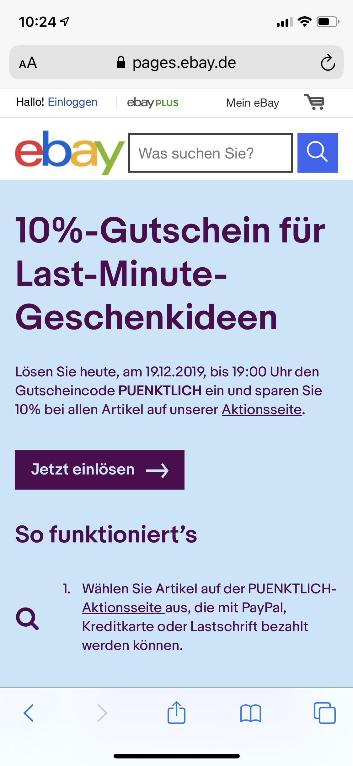 ebay 10% auf Last Minute Geschenke