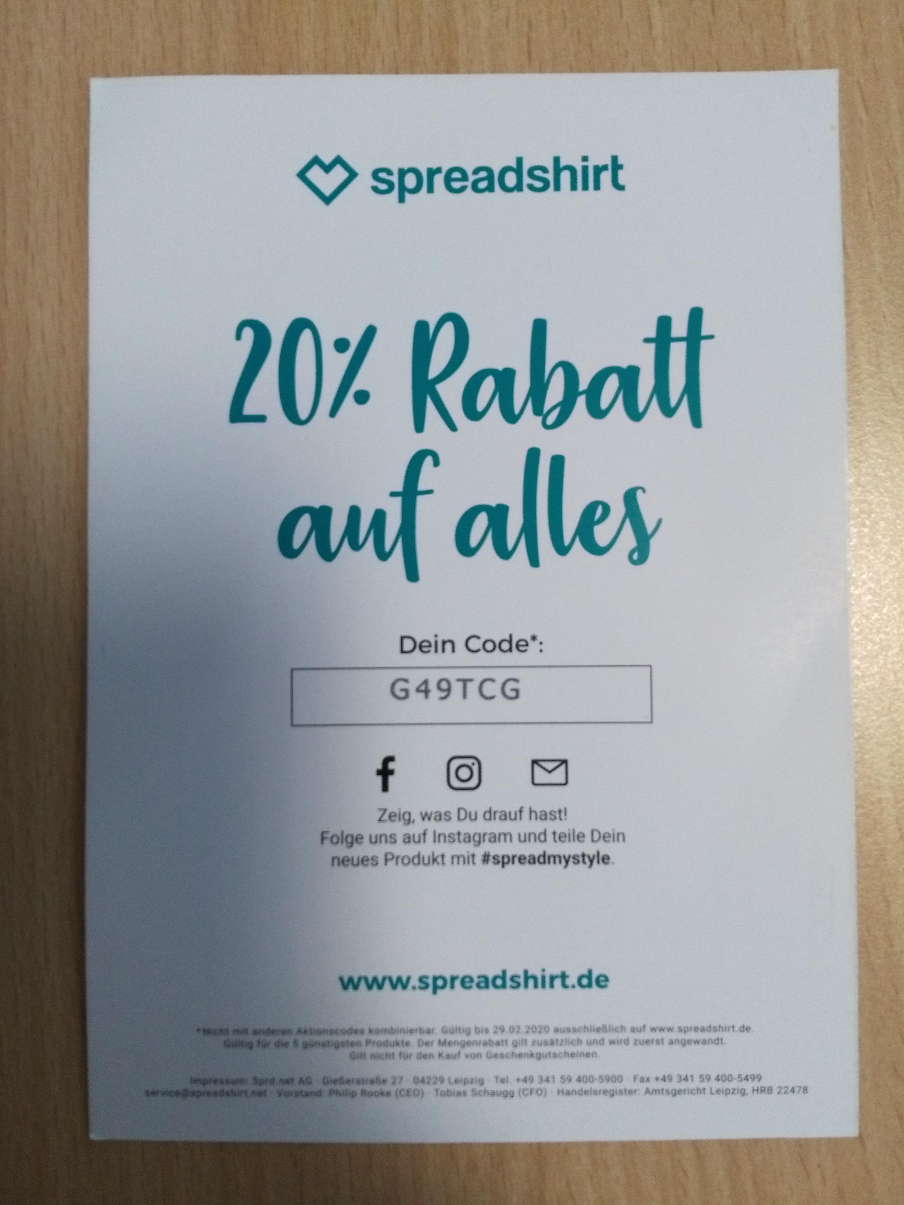 20% auf alles bei Spreadshirt