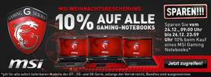10% Rabatt auf alle MSI-Gaming Notebooks