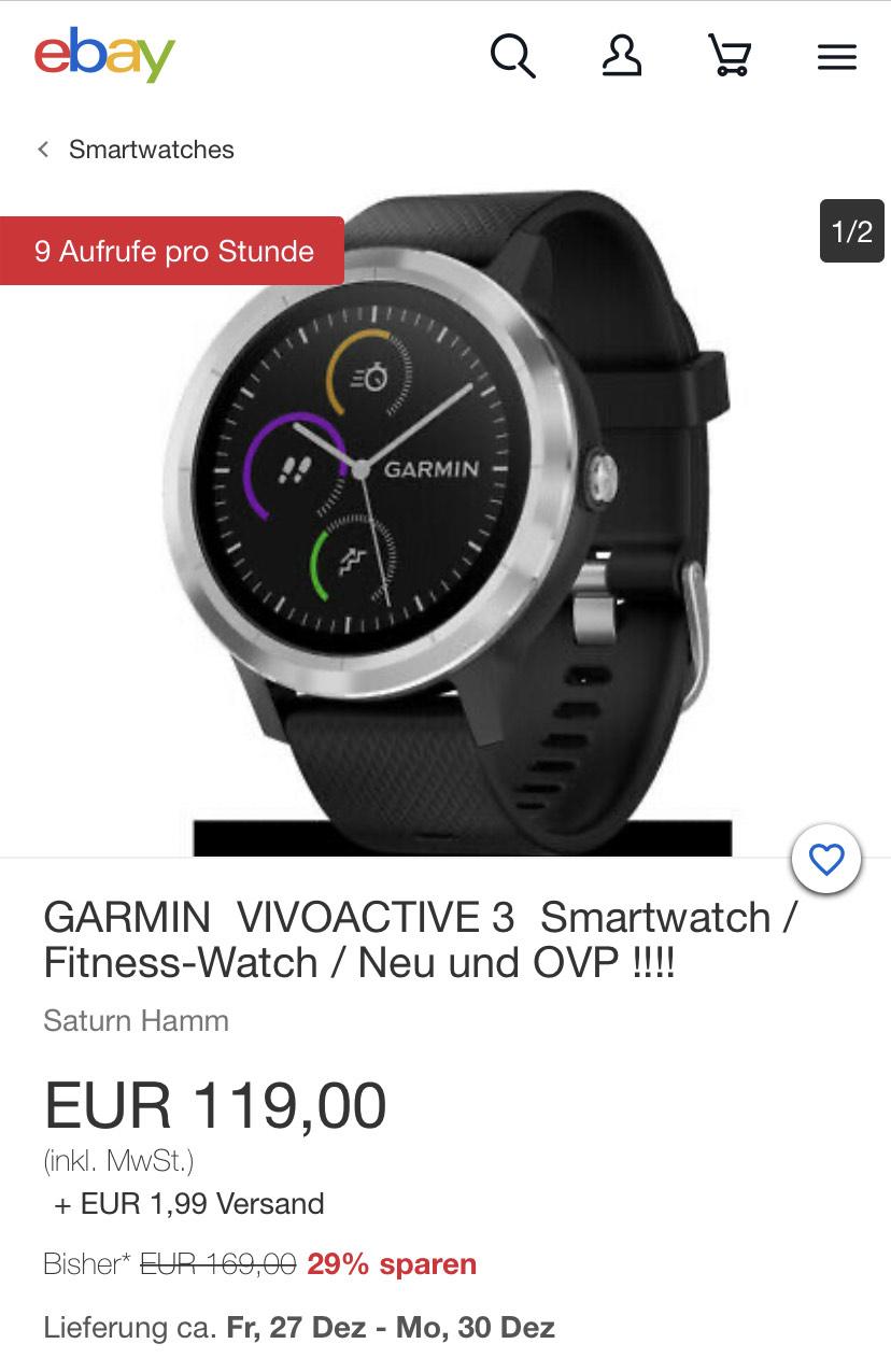 Garmin Vivoactive 3 Smartwatch / Fitness-Watch