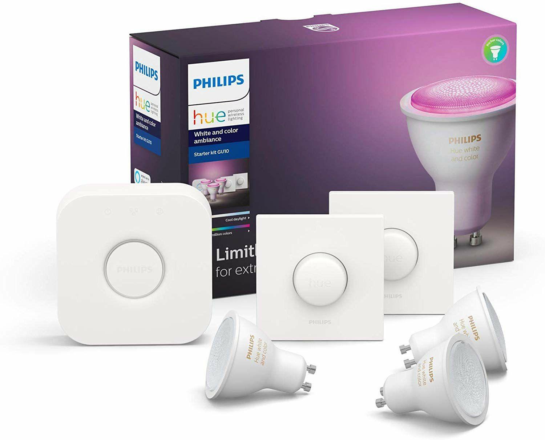 Hue White & Col. Amb. GU10 3er Starter Set 3x350lm Bluetooth, 2x SmartButton (Amazon)
