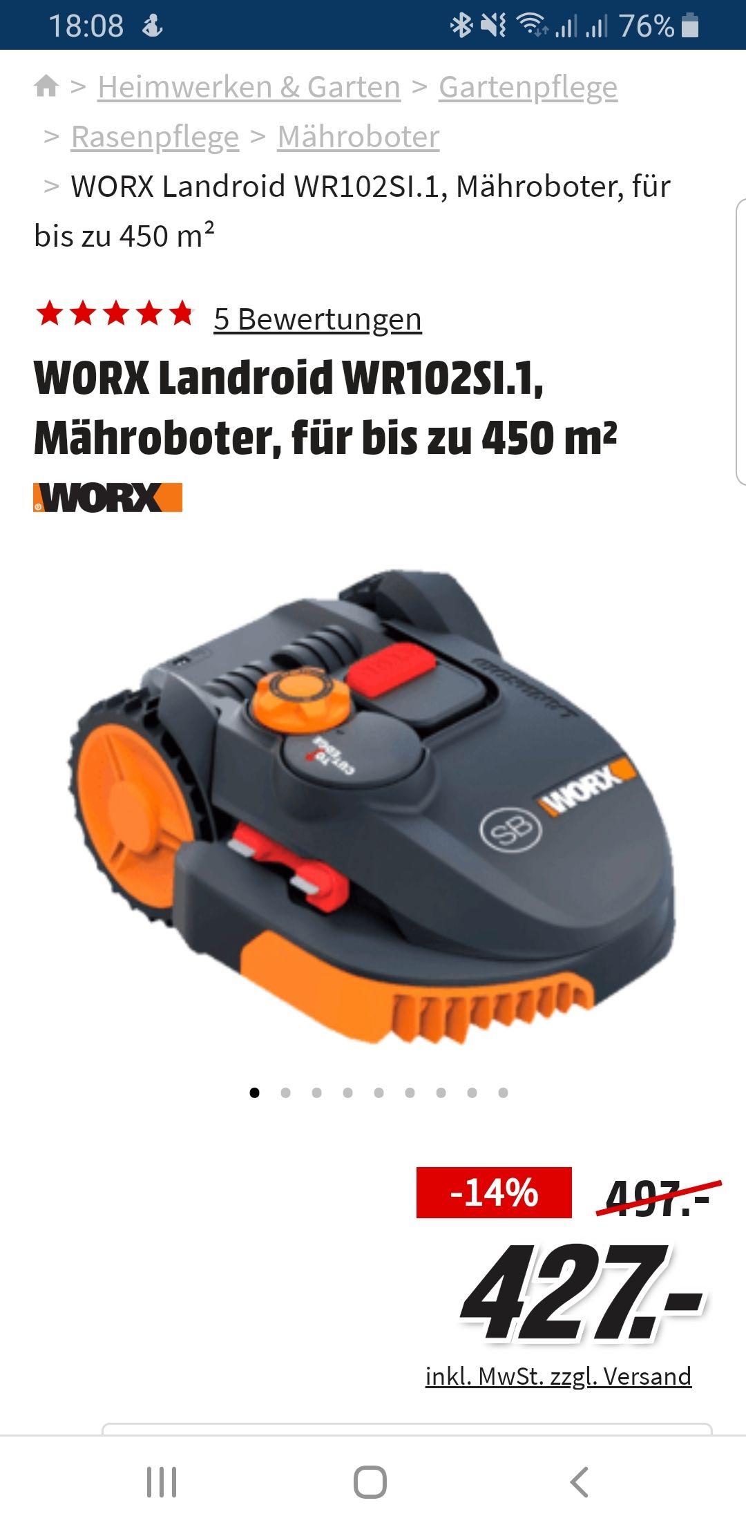 WORX Landroid WR102SI.1, Mähroboter, für bis zu 450 m²