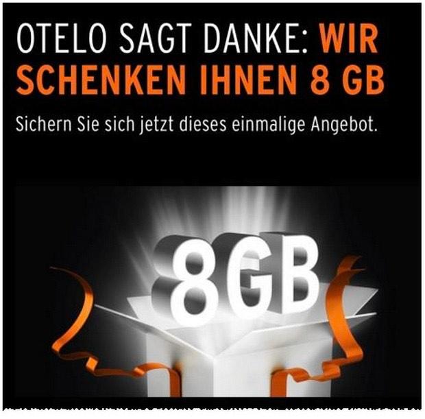 (Otelo - ausgewählte Bestandskunden und Rückholer) kostenlos 8GB für 12 Monate