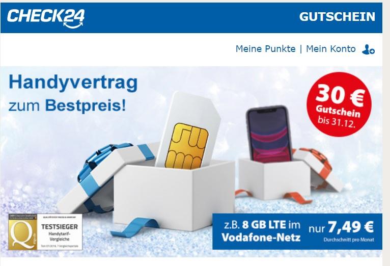 Check24 30 + 10 € Gewinn möglich für Abschluss eines Prepaid Vertrages dank Gutschein evtl. personalisiert