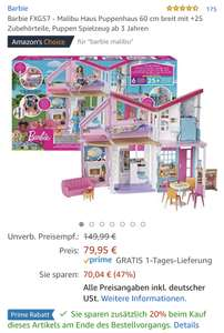 Barbie FXG57 - Malibu Haus Puppenhaus - Amazon - nur Prime!