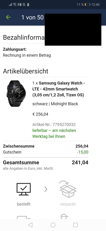 Samsung Galaxy watch LTE Version (mit Neukunden-Gutschein)