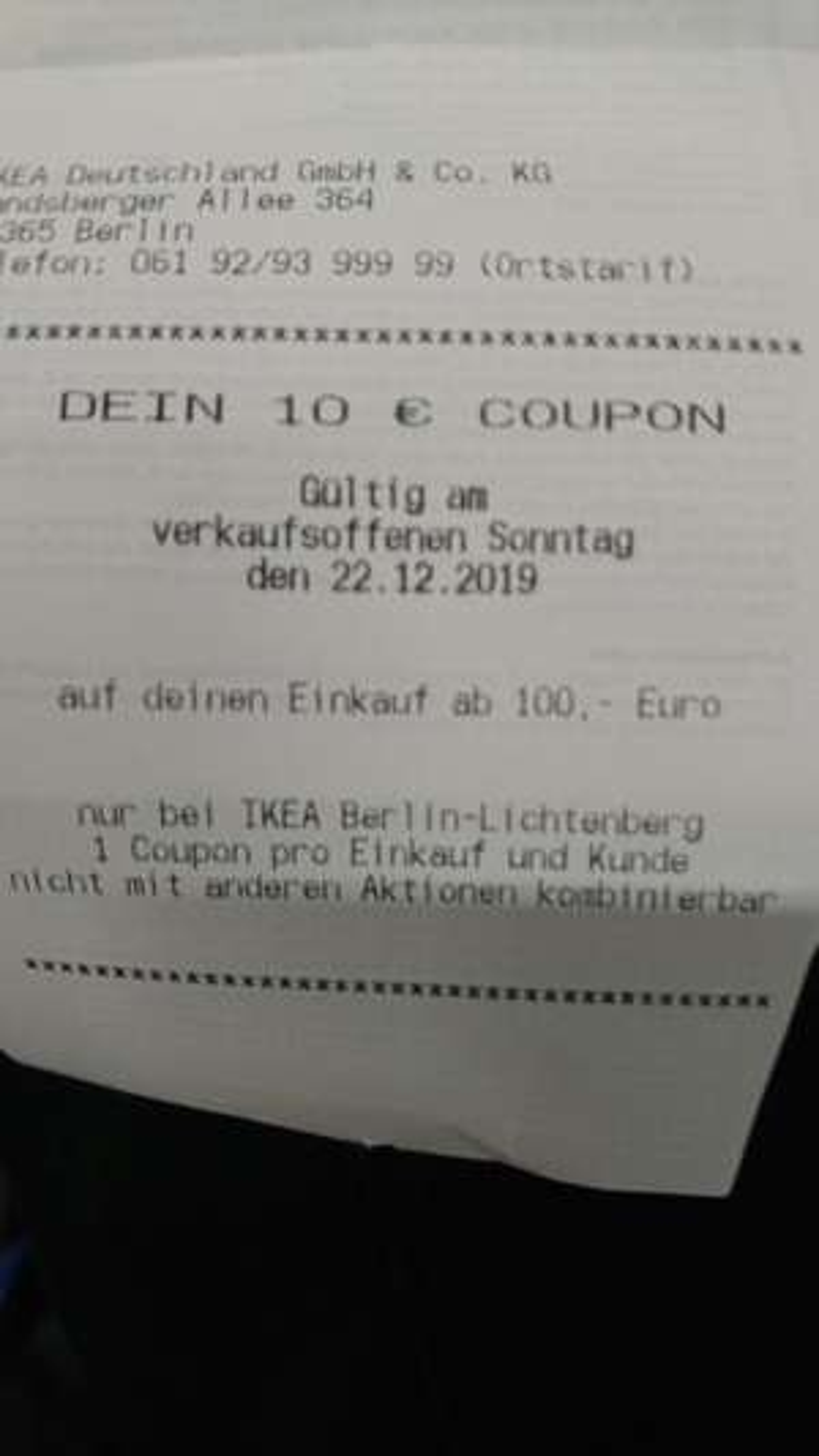 [Lokal Berlin] Ikea 10€ Coupon ab 100€