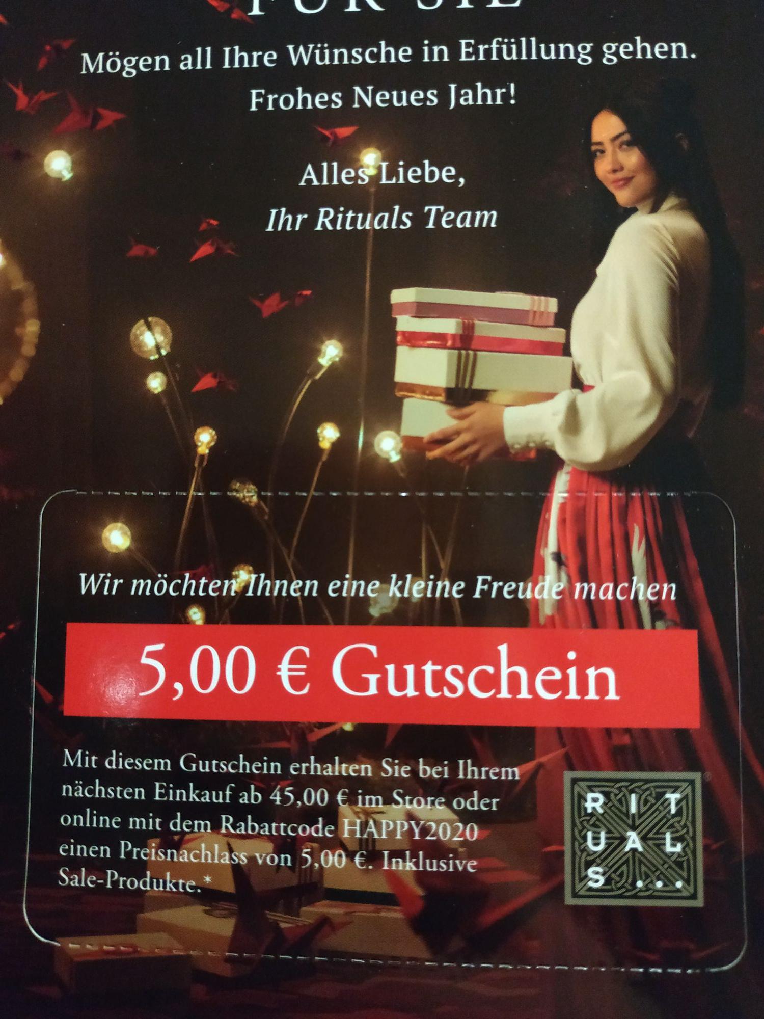 Rituals Gutschein 5€ [MBW 45€]