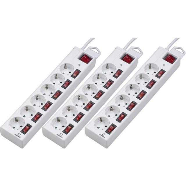 3er Set Renkforce Überspannungsschutz-Steckdosenleiste (6fach, einzeln schaltbar, 45° Anordnung, max. 3500W, 1.50m Kabellänge, weiß)