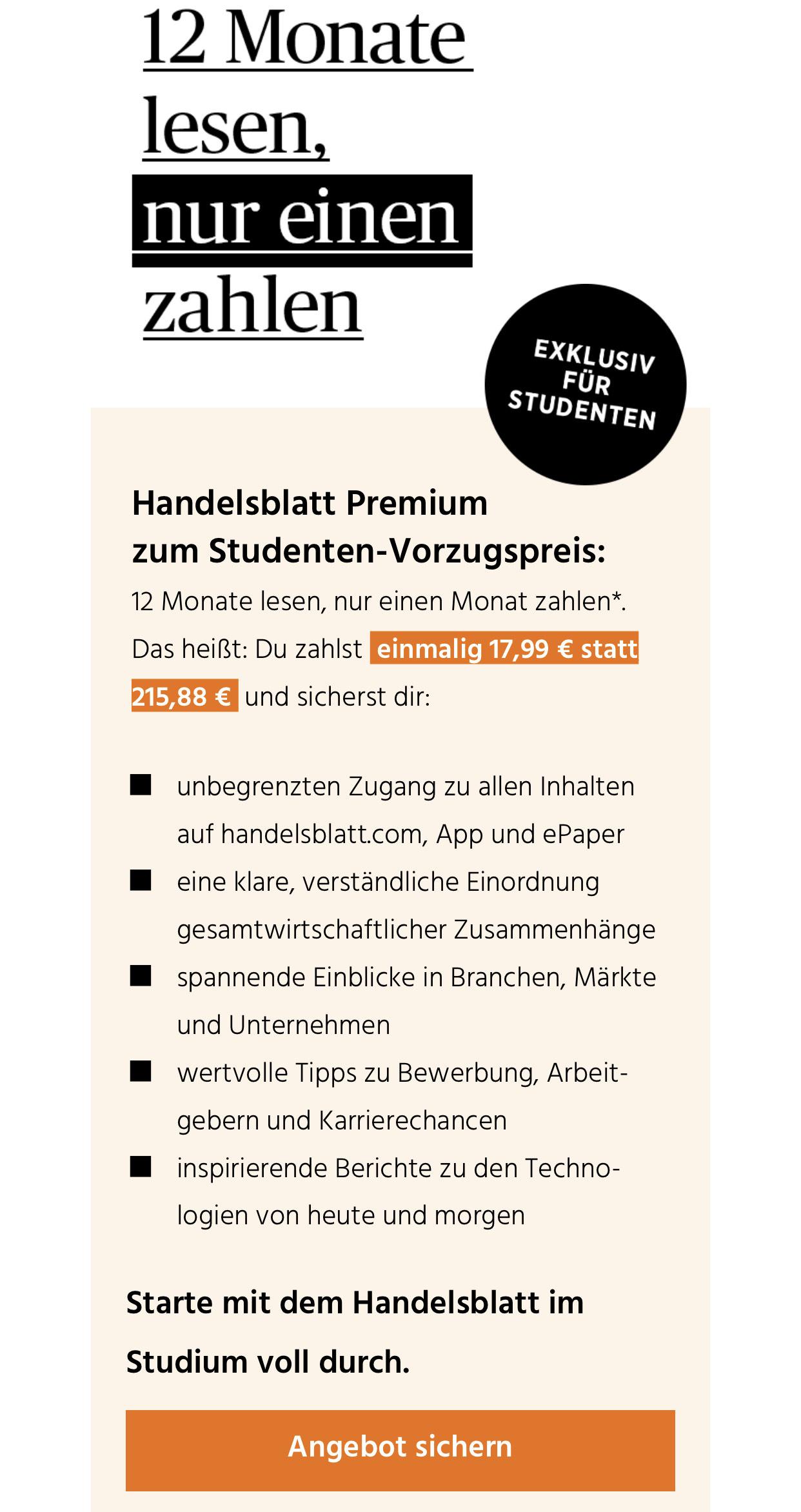 Handelsblatt Premium (Digital) zum Studenten-Vorzugspreis
