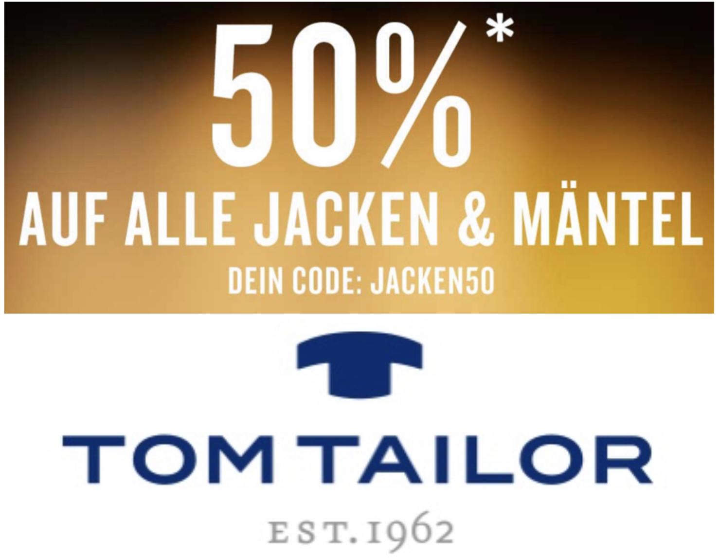 Tom Tailor: 50% Rabatt auf ALLE Jacken und Mäntel + 20% Shoop - nur heute!