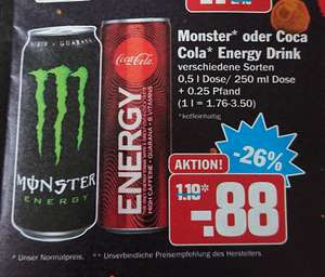 Monster energy [hit/Rewe] oder coca cola energy 0,88 €/Dose [hit] [23. - 28.12.]