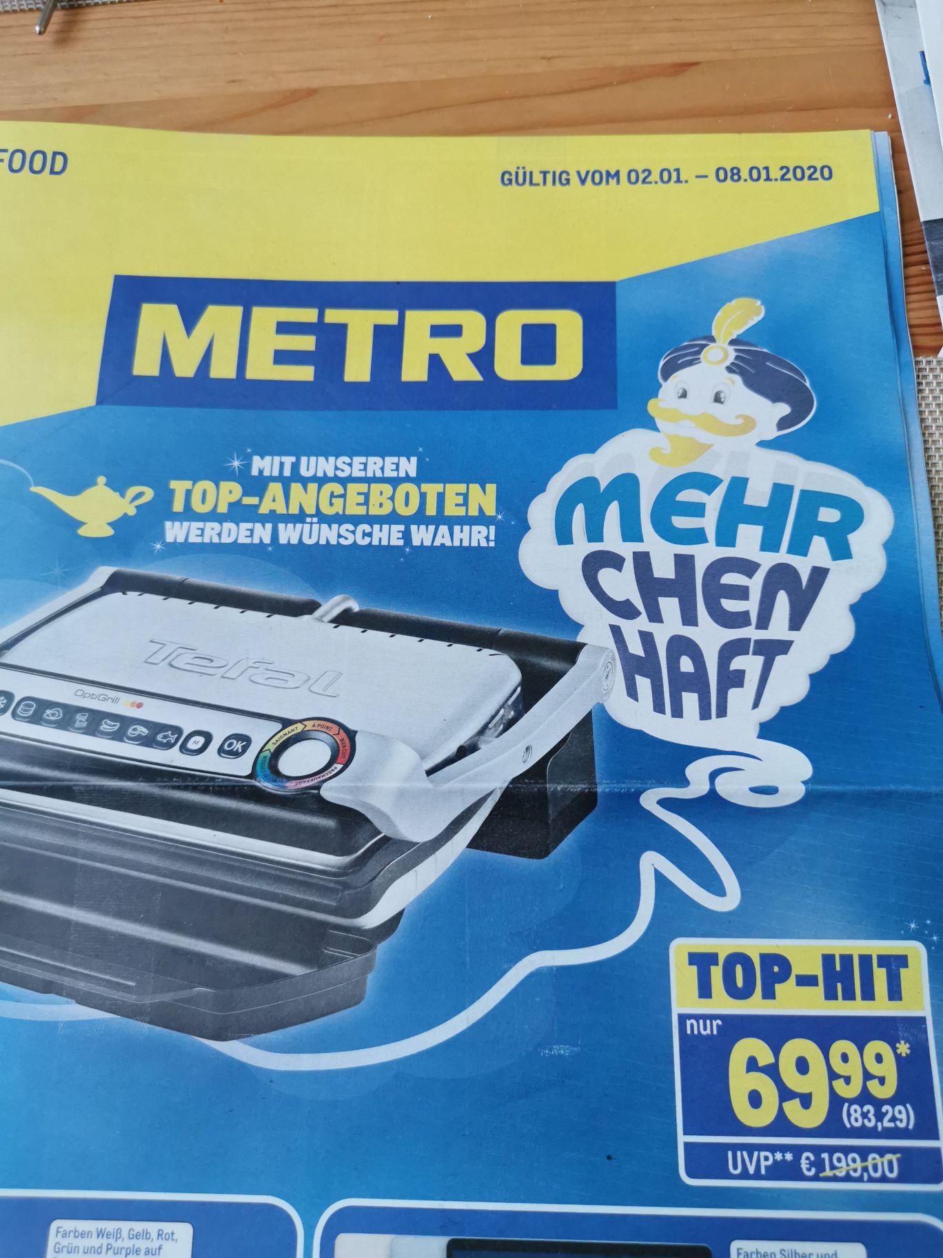 (Metro) ab 02.01: Tefal Optigrill GC7022D Kontaktgrill
