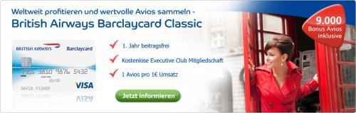 British Airways Barclaycard Classic incl. Prämienfreiflug, 1. Jahr gratis