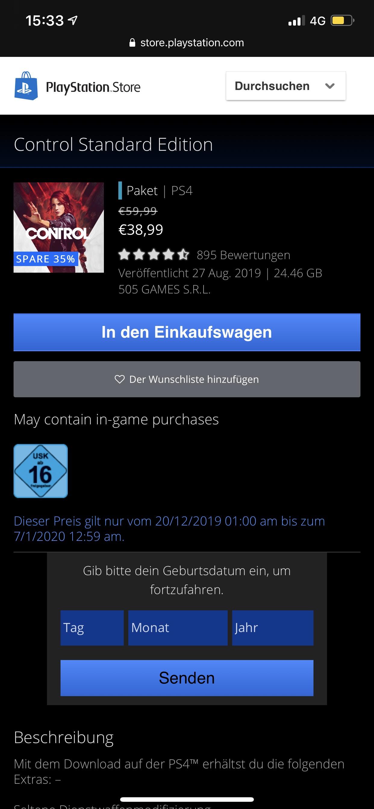 PlayStation 4 Control (Januar Angebot)