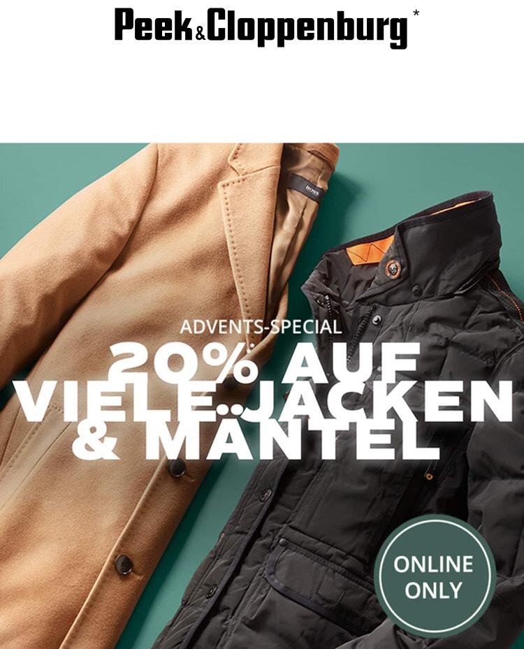 20% extra Rabatt auf ausgewählte großteils bereits reduzierte Jacken und Mäntel bei Peek & Cloppenburg [online only]
